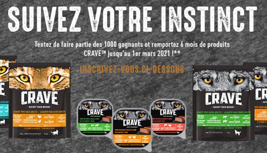 """1000 lots composés de 6 mois de nourriture """"Crave"""""""