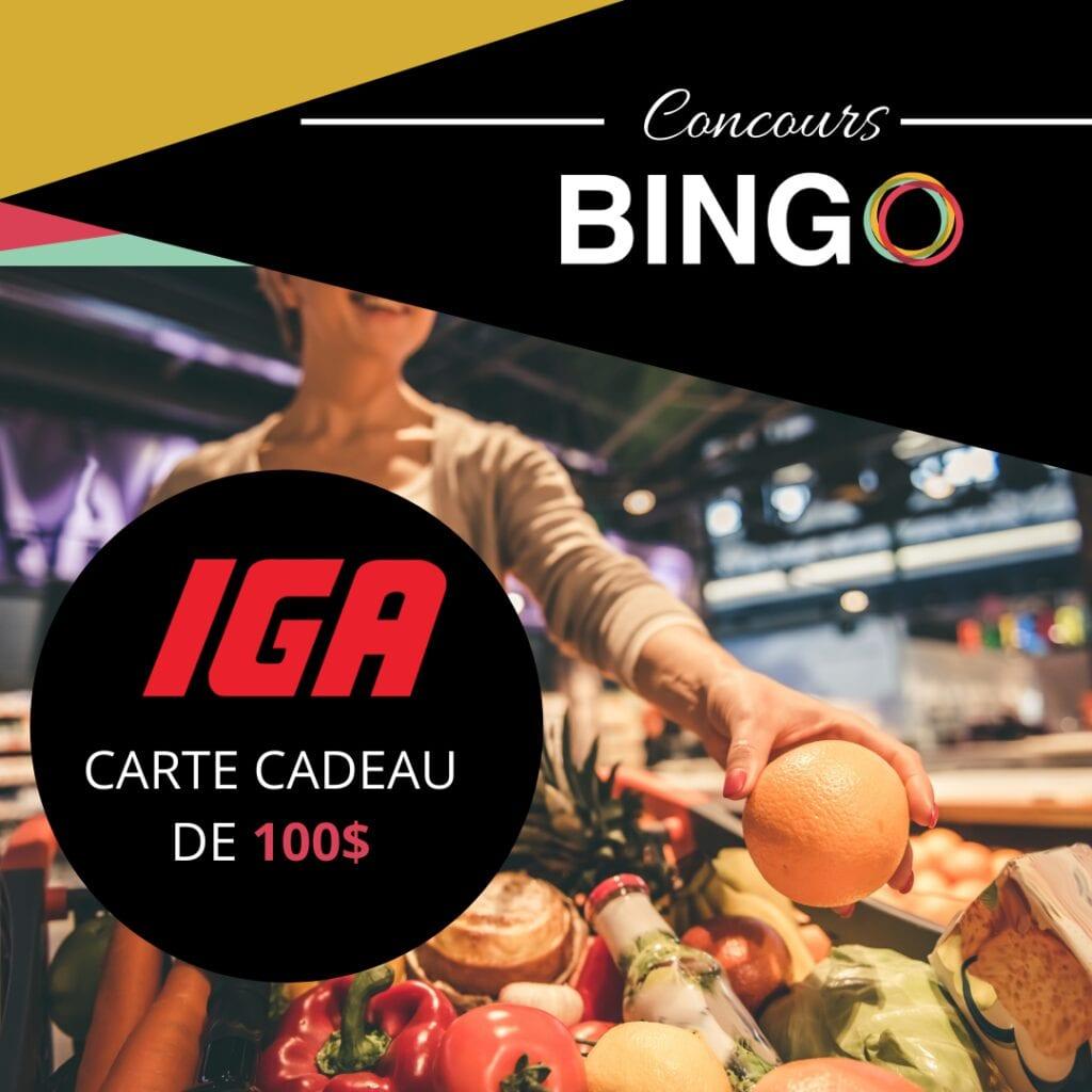 Concours du Québec - GAGNEZ UNE CARTE-CADEAU DE 100$ CHEZ IGA