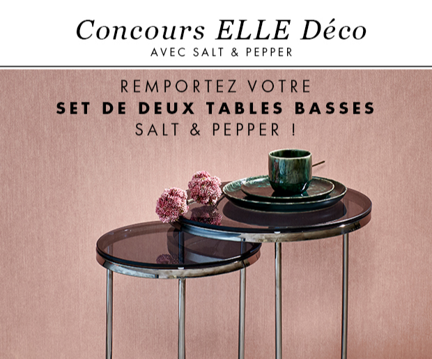 8 sets de 2 tables basses en verre trempé Salt&Pepper (250 euros)