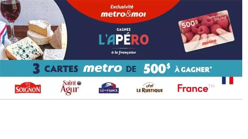 GAGNEZ L'UNE DES DES 3 CARTES-CADEAUX METRO D'UNE VALEUR DE 500$ CHACUNE!