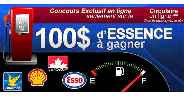 Concours du Québec - Gagnez 100$ en Essence