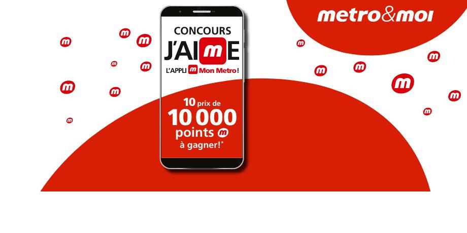 GAGNEZ 1 DES 10 LOTS DE 1000 POINTS METRO D'UNE VALEUR DE 80 $