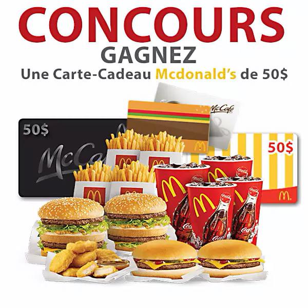 Gagnez une Carte-Cadeau McDonald's de 50$
