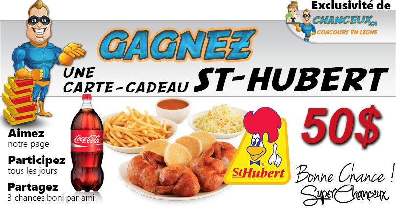 Concours du Québec - CARTE-CADEAU ST-HUBERT DE 50$