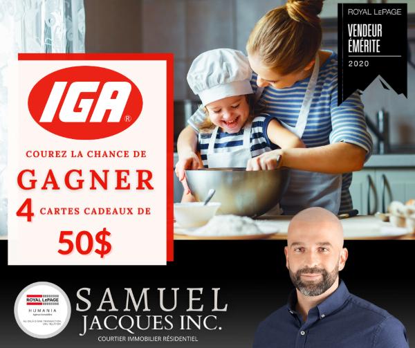 GAGNEZ L'UNE DES 4 CARTES CADEAUX D'UNE VALEUR DE 50$ CHEZ IGA!