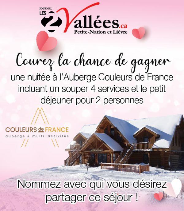 GAGNEZ UN SÉJOUR À L'AUBERGE COULEURS DE FRANCE!
