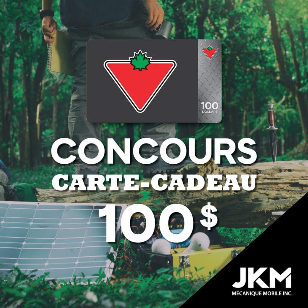 GAGNEZ UNE CARTE CADEAU CANADIAN TIRE D'UNE VALEUR DE 100$!