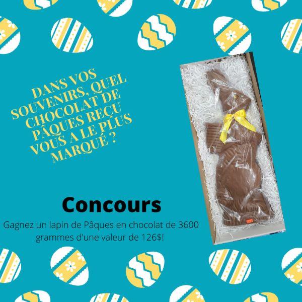 GAGNEZ UN LAPIN DE PÂQUES EN CHOCOLAT BELGE DE 3600 GRAMMES