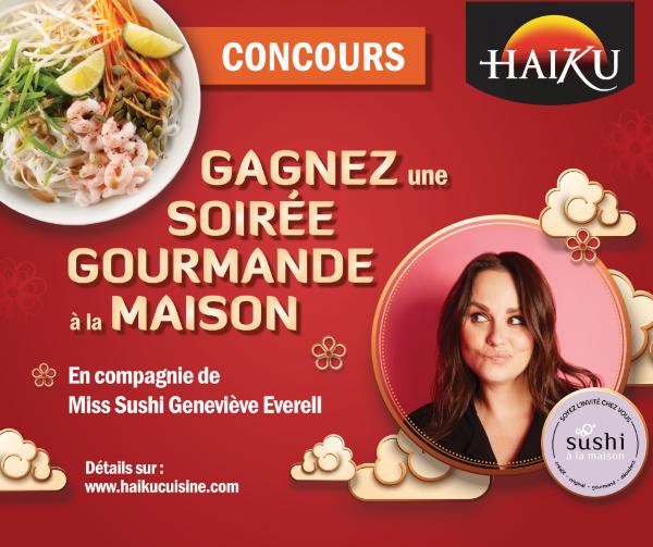 GAGNEZ UNE SOIRÉE GOURMANDE À LA MAISON EN COMPAGNIE DE SUSHI À LA MAISON – GENEVIÈVE EVERELL!