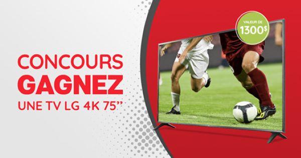 GAGNEZ UNE TV LG 4K DE 75 POUCES D'UNE VALEUR DE 1300$!
