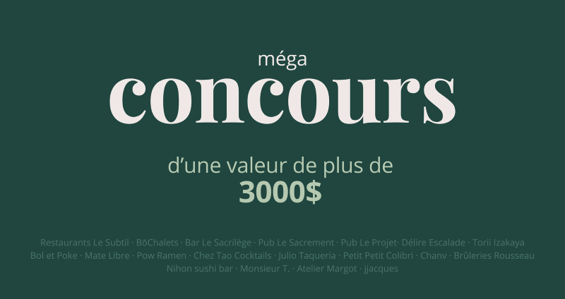 CONCOURS MÉGA CONCOURS LOCAL 3.0!