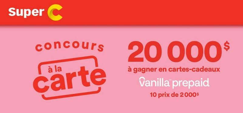 GAGNEZ L'UNE DES 10 CARTES-CADEAUX VISA PRÉPAYÉES DE 2000$ CHACUNE!