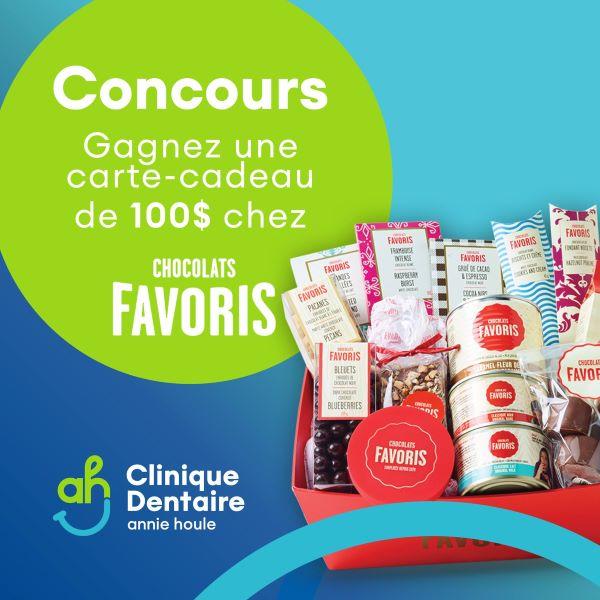 GAGNEZ UNE CARTE-CADEAU DE 100$ CHEZ CHOCOLATS FAVORIS!