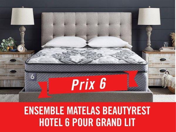 GAGNEZ UN ENSEMBLE MATELAS BEAUTYREST HOTEL 6 POUR GRAND LIT!